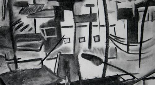 Dessin abstrait au fusain d'après une photographie de bidonville